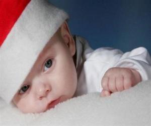 Jungenträumen mit einem Weihnachtsmann-hut puzzle
