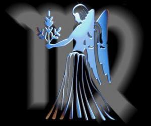 Jungfrau. Die Jungfrau. Sixth Zeichen des Tierkreises. Lateinischer Name ist Virgo puzzle