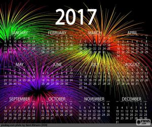 Kalender 2017, frohes neues Jahr puzzle