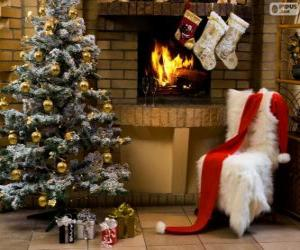 Kamin dekoriert zu Weihnachten puzzle