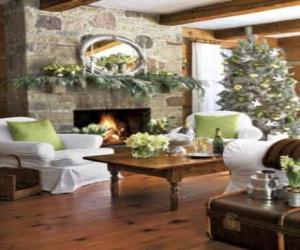 Kamin mit dem feuer angezündet und der Weihnachtsschmuck puzzle