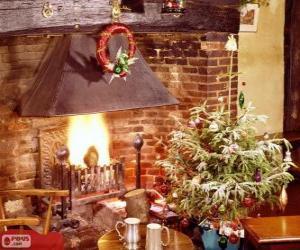 Kamin rustikal dekoriert zu Weihnachten puzzle