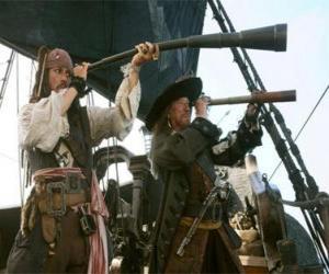 Kapitän der Piratenschiff gerade ein anderes Schiff mit dem Teleskop puzzle
