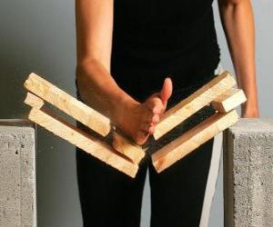 Karateca bricht ein Stück mit einem Schlag mit der Hand puzzle
