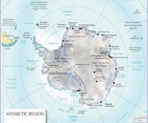 Karte der Antarktis. Südpol ist auf dem antarktischen Kontinent puzzle