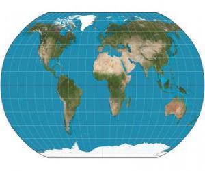 Karte der Erde. Landkarte mit der Robinson-Projektion ermöglicht die Darstellung der ganzen Welt puzzle