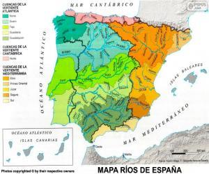 Karte der Flüsse in Spanien puzzle
