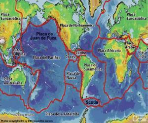Karte der tektonische Platten puzzle