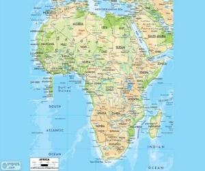 Karte von Afrika. Der afrikanische Kontinent befindet sich zwischen den Atlantischen, indischen und pazifischen Ozeanen. Es grenzt auch an das Mittelmeer und das Rote Meer puzzle