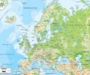 Karte von Europa. Der europäische Kontinent erstreckt sich über Russland bis zum Ural puzzle