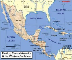 Karte von Mexiko und Mittelamerika. Mittelamerika, Subkontinent Verbindung von Nordamerika und Südamerika puzzle