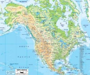 Karte von Nordamerika. Nordamerika, bestehend aus die Ländern Kanada, USA und Mexiko puzzle