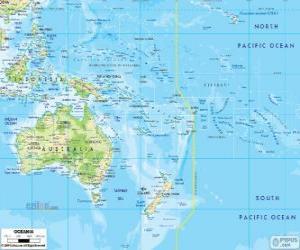 Karte von Ozeanien. Kontinent von Australien und andere Inseln und Inselgruppen im Pazifik gebildet puzzle