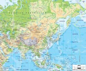 Karte von Russland und Asien. Der asiatische Kontinent ist die größte und bevölkerungsreichste der Erde puzzle