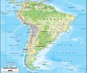 Karte von Südamerika ist der südliche Kontinent von Amerika puzzle