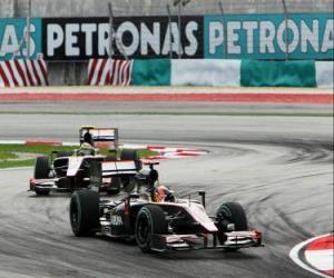 Karun Chandhok, Bruno Senna - HRT - Sepang 2010 puzzle