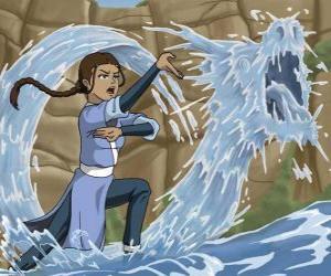 Katara ist eine leistungsfähige Wasser - meister, der mit seinem Bruder Sokka Aang begleitet puzzle