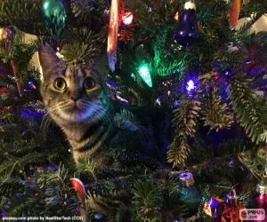 Katze und Weihnachtsbaum puzzle