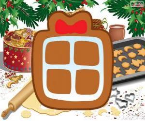 Keks mit der Form der ein Weihnachtsgeschenk puzzle