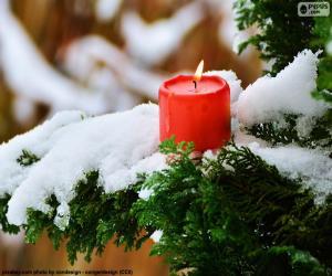 Kerze Rot auf einem Ast puzzle