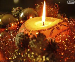 Kerzen zu Weihnachten angezündet puzzle