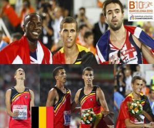 Kevin Borlée 400 m Champion, Michael Bingham und Martyn Rooney (2. und 3.) der Leichtathletik-Europameisterschaft Barcelona 2010 puzzle