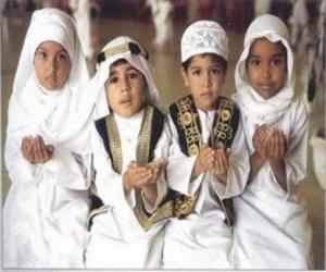 Kinder machen Du'a, ein Gebet im Islam puzzle