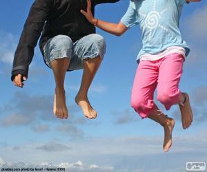 Kinder springen puzzle