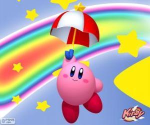Kirby mit einem Regenschirm fliegen zwischen den Sternen und dem Regenbogen puzzle