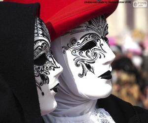 Klassische weiße venezianische Masken puzzle