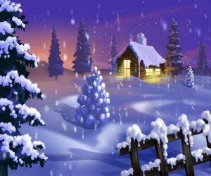 Kleines Haus in den Schnee puzzle