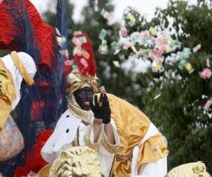 König Balthasar in die Parade zu werfen Bonbons puzzle