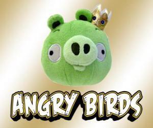 König Schwein erscheint am Ende des Spiels Angry Birds puzzle