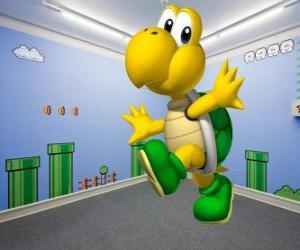 Koopa Troopa, sind Schildkröten zweibeinigen Feinde in der Mario-Spiele puzzle