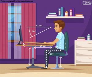 Korrekte Position vor dem Computer puzzle