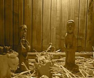 Krippenfiguren aus Holz und Krippe puzzle