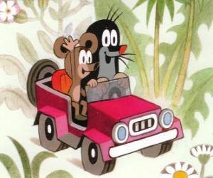 Krtek der kleine Maulwurf der Fahrt mit einem Jeep zusammen mit der kleinen Maus puzzle