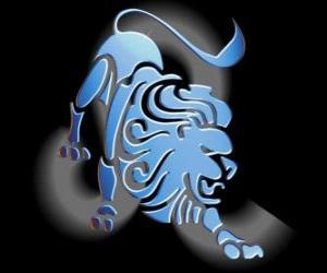Löwe. Der Löwe. Fünfte Zeichen des Tierkreises. Lateinischer Name ist Leo puzzle