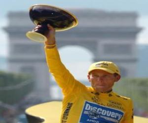Lance Armstrong mit einer trophäe puzzle