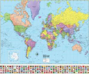 Landkarte mit den Grenzen der Länder der Welt. puzzle