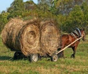 Landwirt mit einem pferd gezeichneten wagen puzzle