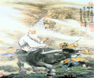 Laozi, Lao Tse oder Lao-Tzu, philosofer des alten China, zentrale figur des Daoismus or Taoismus, fahrrad ein buffalo puzzle