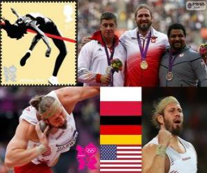 Leichtathletik Männer Schuss setzen Podium, Tomasz Majewski (Polen), David Storl (Deutschland) und Reese Hoffa (USA) - London 2012- puzzle