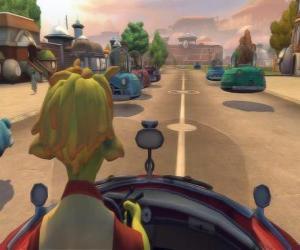 Lem, das führende Cabriolet-Fahrzeug Planet 51 puzzle