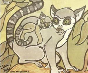 Lemur mit ihrem Baby. Zeichnung von Julieta Vitali puzzle