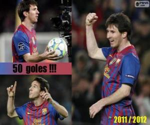 Leo Messi, bester Torschütze in der Geschichte der spanischen Liga, 2011-2012 puzzle