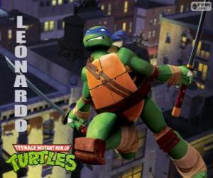 Leonardo, der Ninja Schildkröten Angriff mit Katanas puzzle
