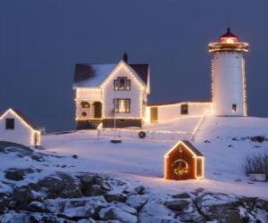 Leuchtturm und der Leuchtturmwärter Haus mit Weihnachtsschmuck puzzle