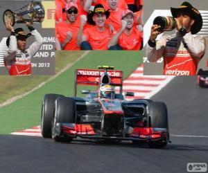 Lewis Hamilton feiert seinen Sieg in der Grand Prix der USA 2012 puzzle