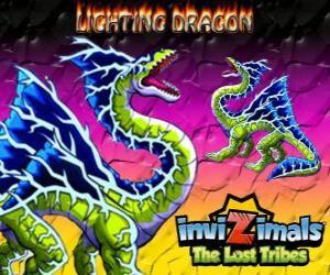 Lightning Dragon. Invizimals Die verlorenen Stämme. Diese dragon Invizimal dominiert die Macht der Blitz und Donner puzzle